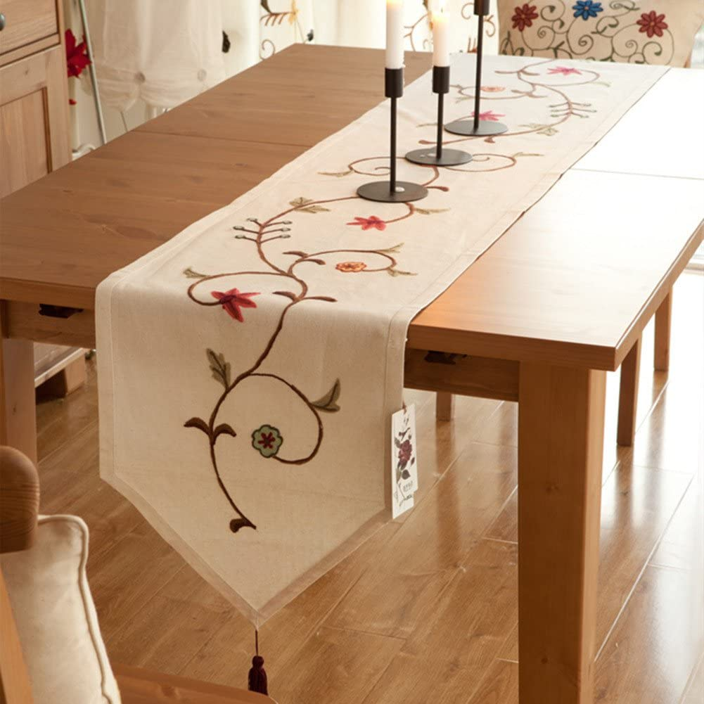 Ethomes Floral Embroidered Linen Cotton Burlap Beige Table Runner with Tassles