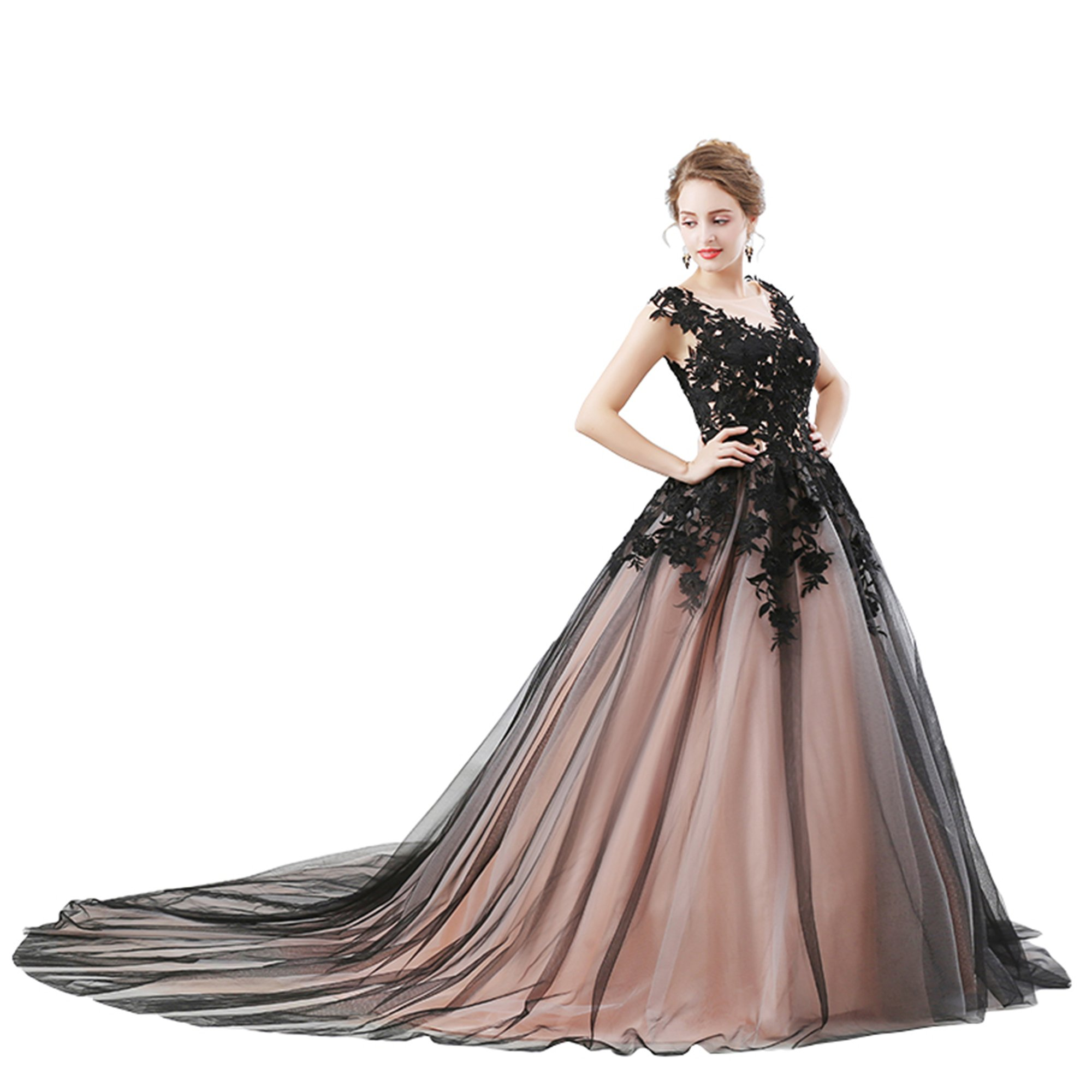 Heartgown Women's Scoop Black Applique Bodice Ball Gown Long Prom Dress With Train As Picture US14