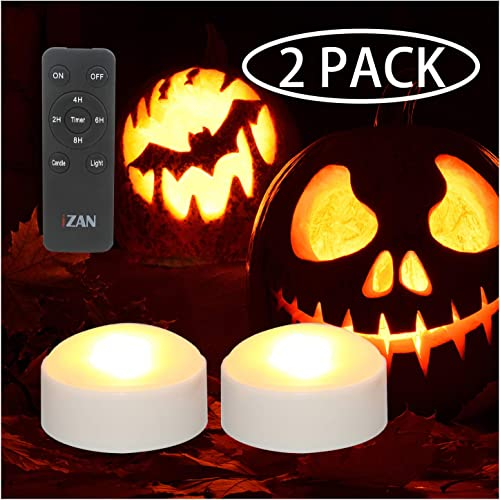 2 Pack Battery Operated LED Lights with Remote and Timer, Bright Flickering Flameless Candle Set for Pumpkin D cor Jack-O-Lantern Halloween Party Home Christmas Decorations, White Color