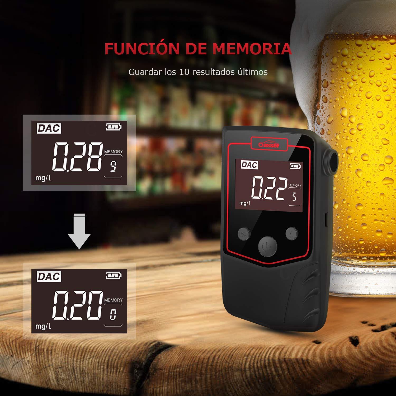 Oasser Alcohol/ímetro Digital Homologado 4 Boquillas Profesional Recargable Pantalla LCD Retroiluminada Pila de Litio Sensor Semiconductor Coche Port/átil T6