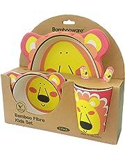 Buabi Vajilla de bambú bebé e Infantil, Material ecológico sin BPA Animales, Apto para lavavajillas