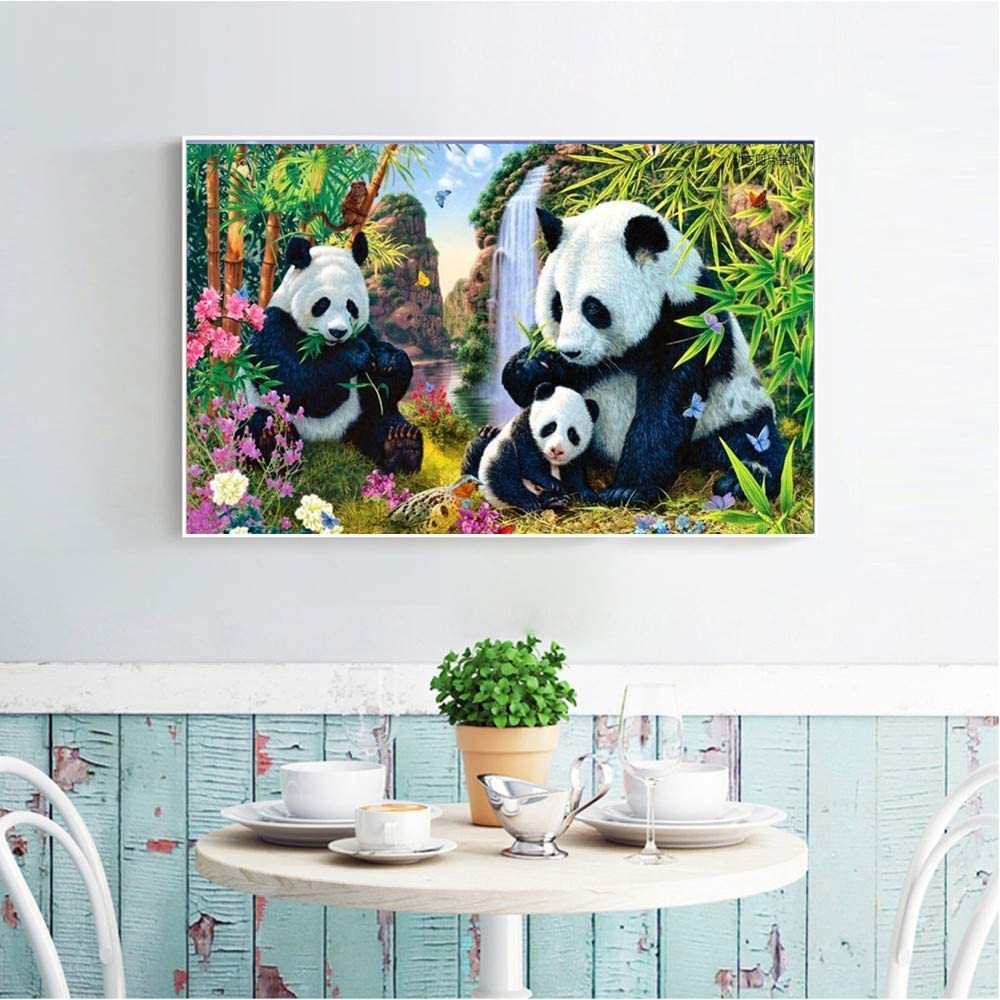 DIY Handmade Rhinestone Embroidery Cross Stitch for Home Wall Decor Amyline 5D Diamond Painting Full Drill Super Cute Panda