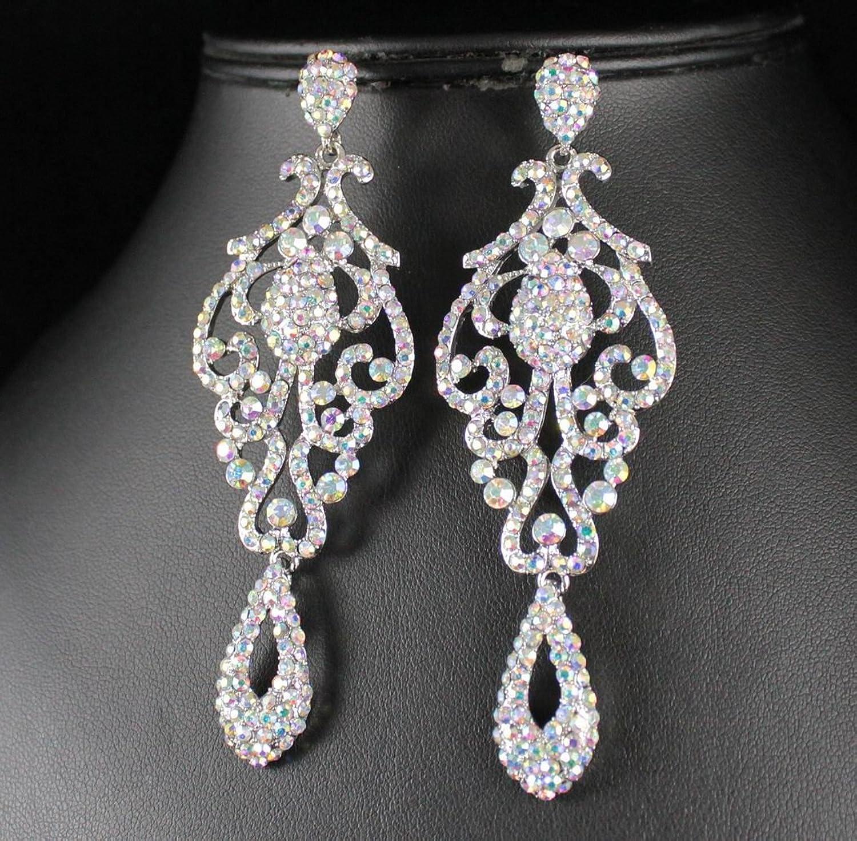 Amazon: Janefashions Large Pageant Crystal Rhinestone Chandelier Dangle  Earrings Prom E2090ab Ab White: Jewelry