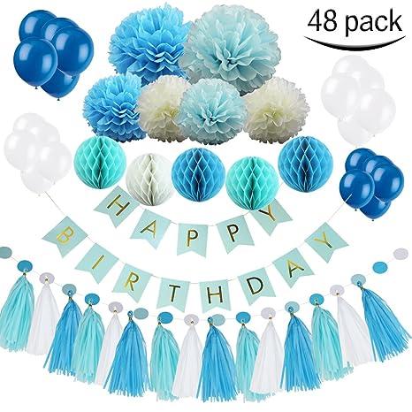 MG MULGORE 48 Packs de Decoración de Cumpleaños Conjunto Globo de Color Bola Feliz Cumpleaños Banner