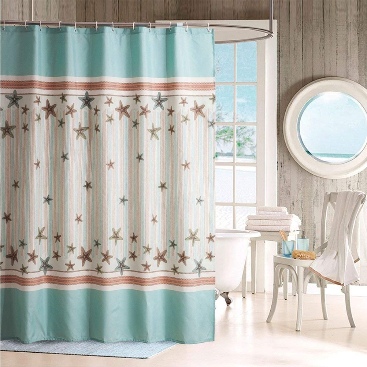 Der European Rural Small Stars Anti-Wrinkle Thickening Opaque Polyester Bathroom Free Punching Shower Curtain Waterproof and Mildew Bathroom Accessories (Size : 240cm200cm)