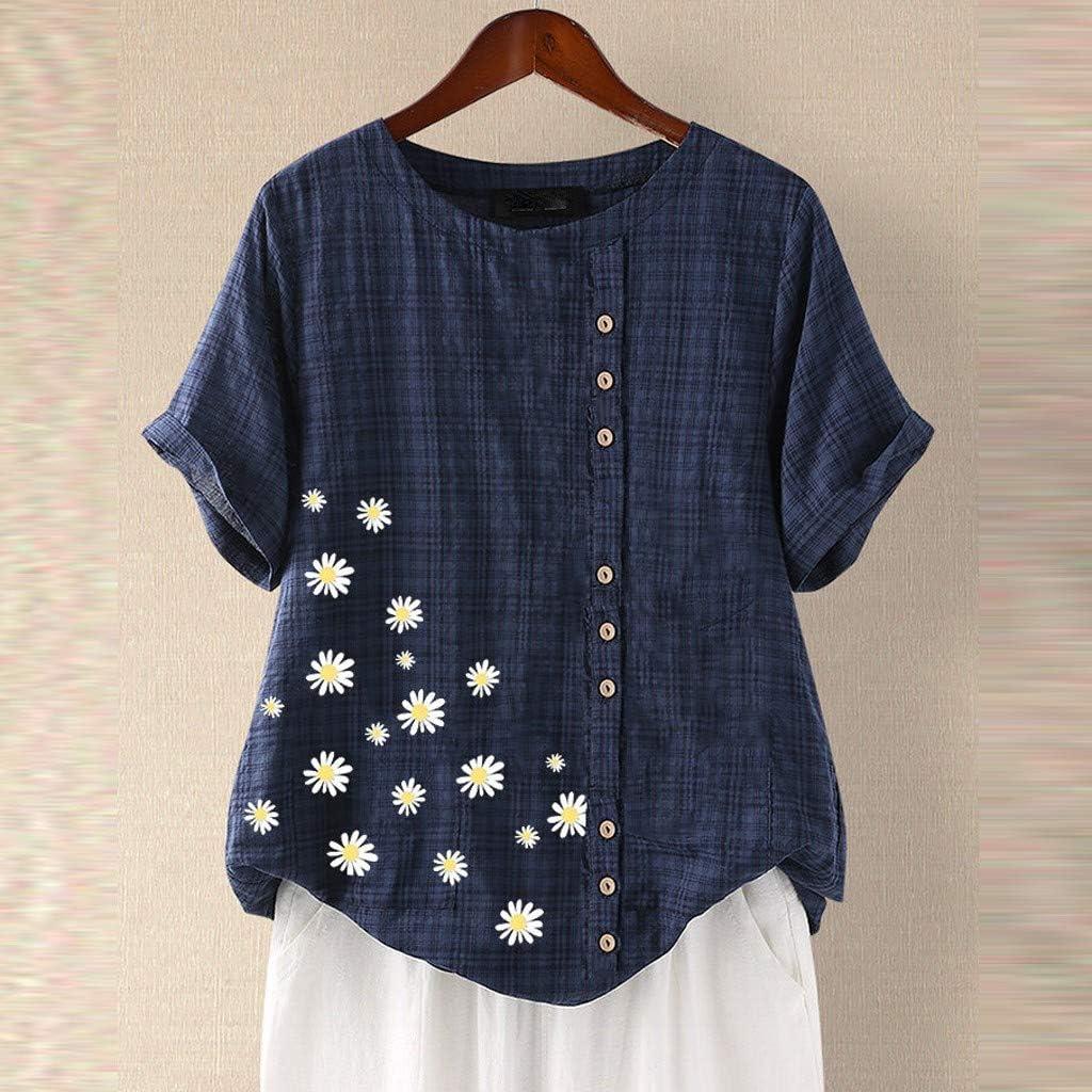 Women Plus Size Short Sleeve Floral Cotton Linen Blouse Ladies Loose T-Shirt Top