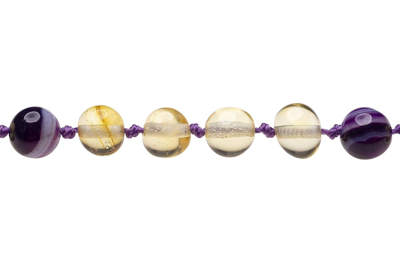 Baltic Amber Necklace Made with Violet Quartz AmberSky Baby//Toddler//Children 32 cm Size 12.5 inches 12.5 Polished Lemon//Violet Quartz