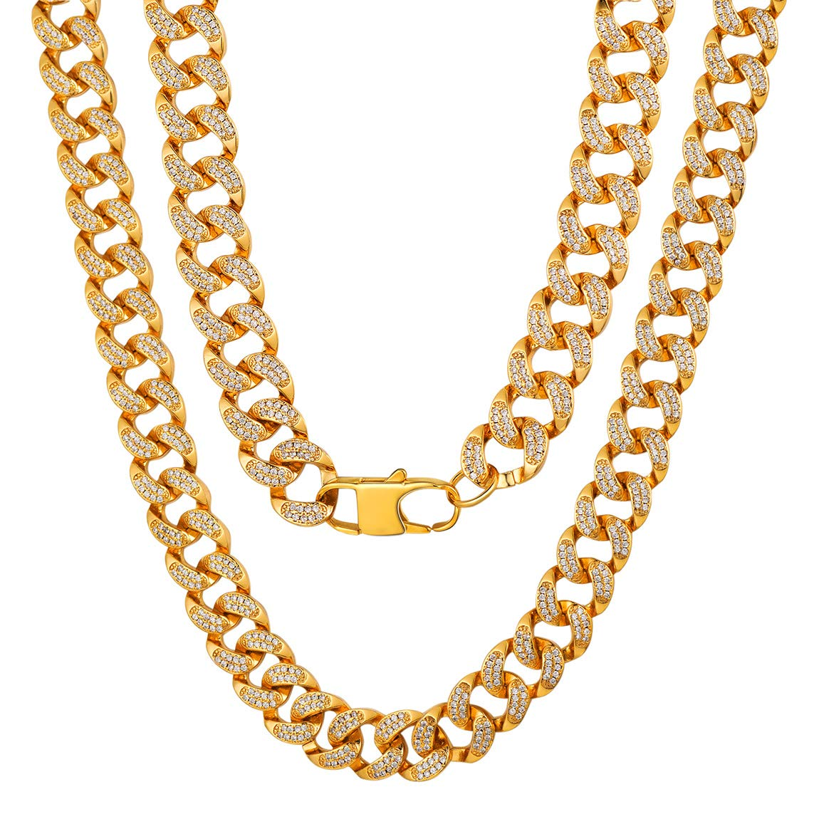 with Gift Box 18 20 22 24 26 28 30 Length Hip-Hop Cool Style 316L Stainless Steel//18K Gold Plated- ChainsPro Mens NK 1:1 Curb Chain Necklace 5//9//12//15 MM Width