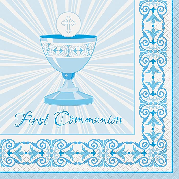 Radiant Cross Blue First Communion Party Napkins, 16ct