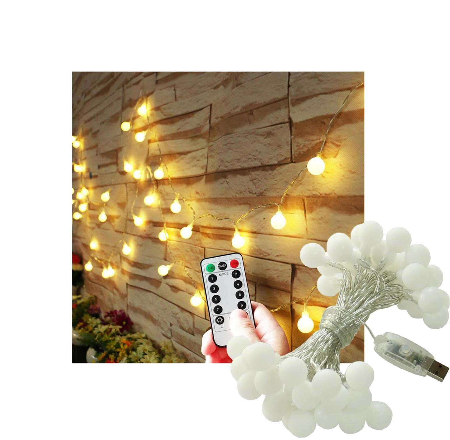Fairy Globe String Lights USB Operated with Remote Timer Curtain Window 16.4FT/5M Frosted White Ball String Lights for Garden, Tapestry, Wall, Wedding, Patio, Indoor, Outdoor (Dimmable, Warm White)
