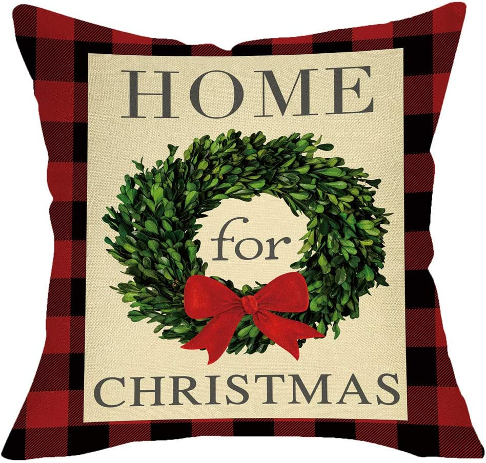 Fbcoo Home for Christmas Decorative Throw Pillow Cover, Xmas Boxwood Wreath Cushion Case Buffalo Check Red Black Plaid Rustic Home Winter Decoration Square Pillowcase Decor for Sofa Couch 18 x 18 Inch