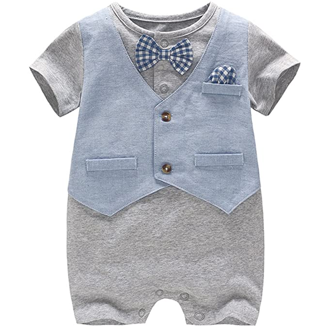 JiAmy Baby Boy Gentleman Romper Summer Short Sleeve Bowtie Jumpsuit 18-24 Months