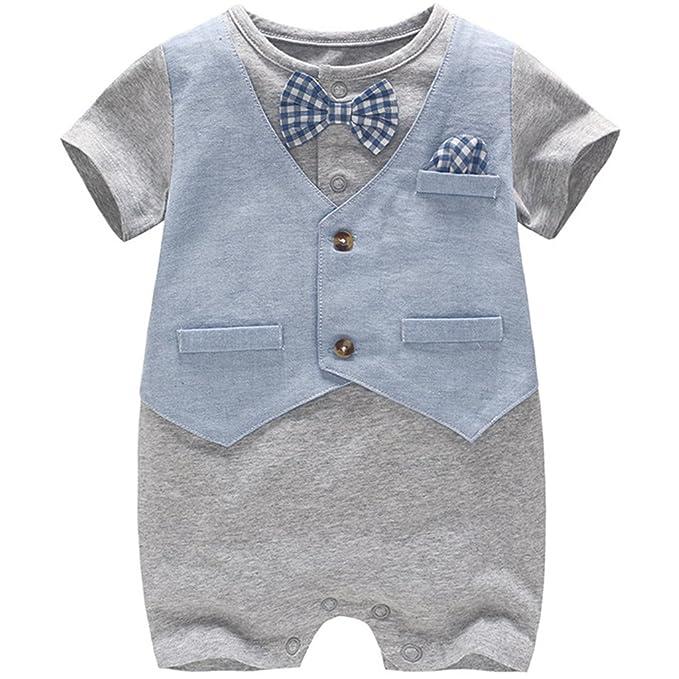 JiAmy Baby Boy Gentleman Romper Summer Short Sleeve Bowtie Jumpsuit 18-24 Months