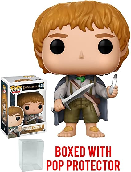 Amazon Com Funko Pop Movies The Lord Of The Rings Samwise Gamgee 445 Vinyl Figure Bundled With Pop Box Protector Case Toys Games