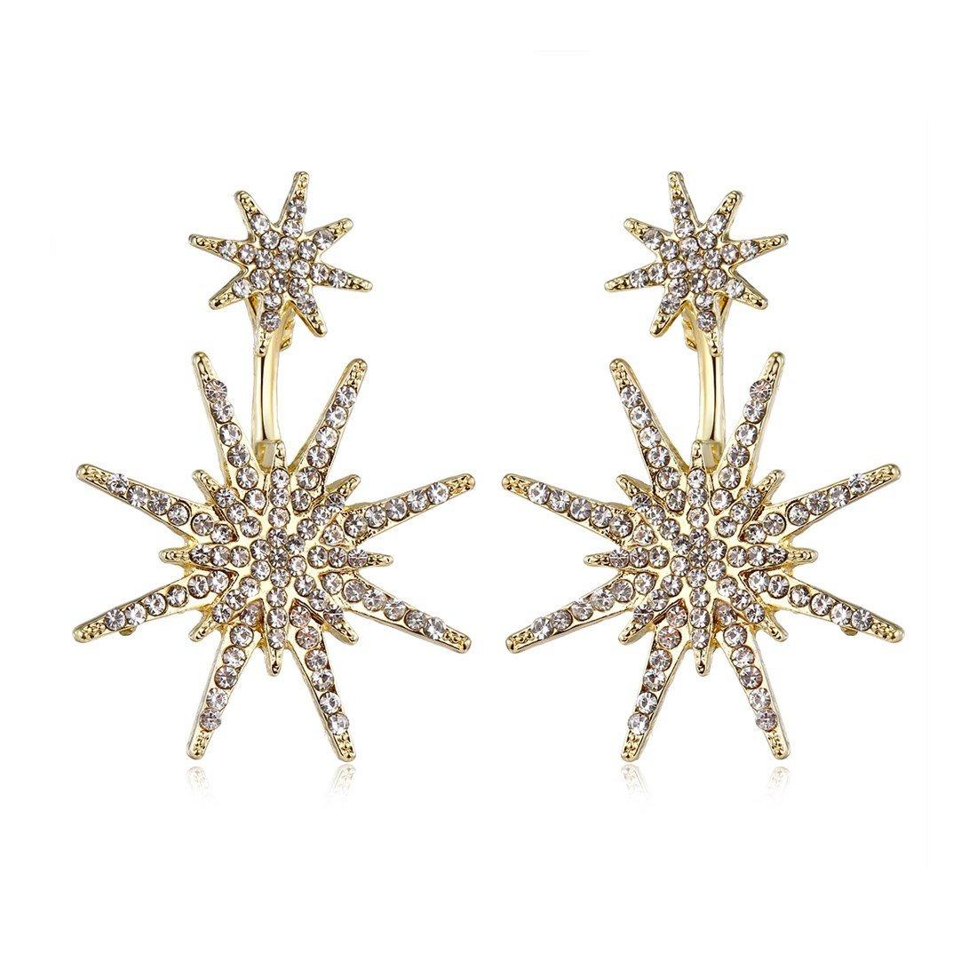 Star Stud Unique Gold Dangling Earrings for Women Fashion Wedding Ear Jacket Christmas Jewelry MengPa YH1254G