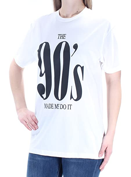 0204af3d Kid Dangerous Womens 90's Crew Neck Short Sleeves Graphic T-Shirt B/W M  White at Amazon Women's Clothing store: