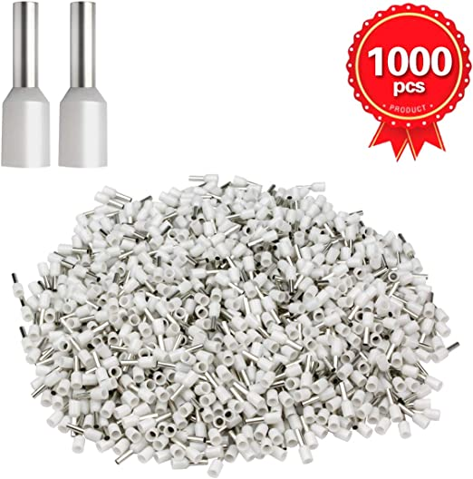 1000pcs White 20 AWG Wire Copper Crimp Connector Insulated Cord Pin End Terminal