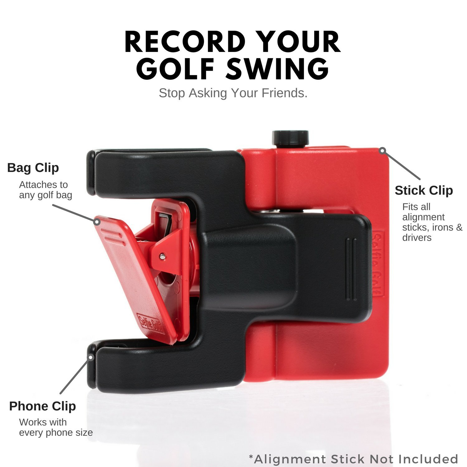 Record Golf Swing - Cell Phone Clip Holder and Training Aid by SelfieGOLF TM - Golf Accessories | The Winner of The PGA Best of 2017 | Compatible with Any Smart Phone (Red/Black) by Selfie Golf (Image #3)