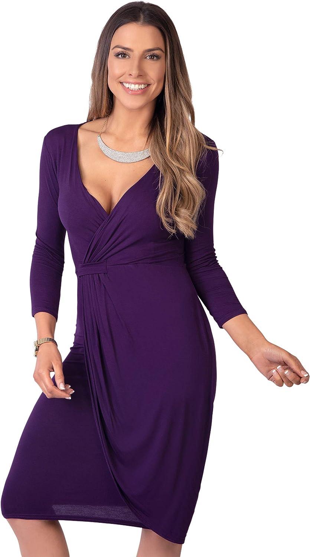 TALLA 36. KRISP Vestido Moda Mujer Fruncido Morado (6174) 36