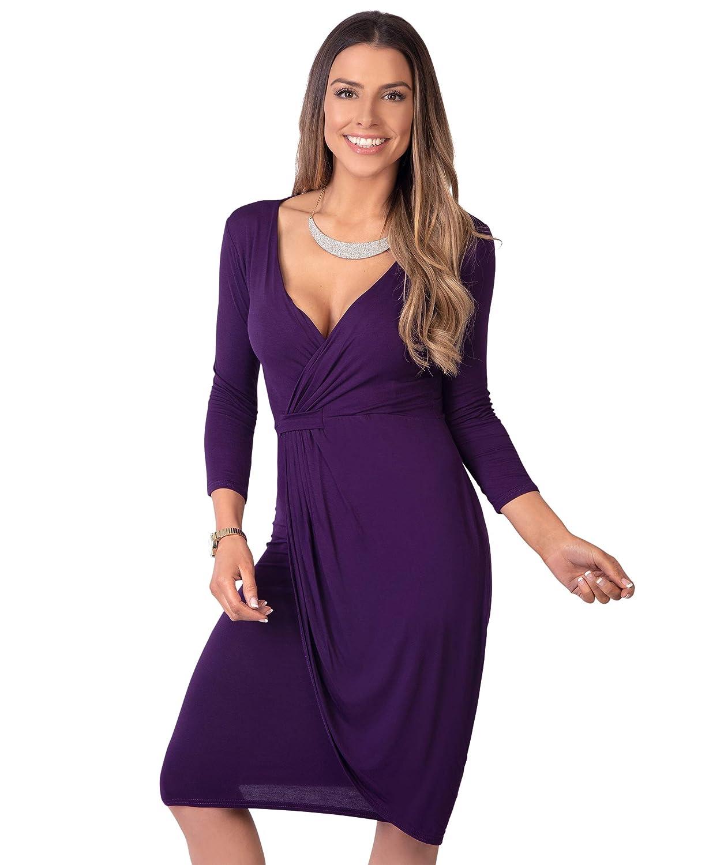 0639bd370ac KRISP Robe Femme Courte Portefeuille Moulante Elégante Chic  Amazon.fr   Vêtements et accessoires