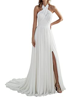 90915cb1d763 Zhongde Women's Beach A Line Slit Low Back Long Chiffon Wedding Dress  Bridal Gown for Bride