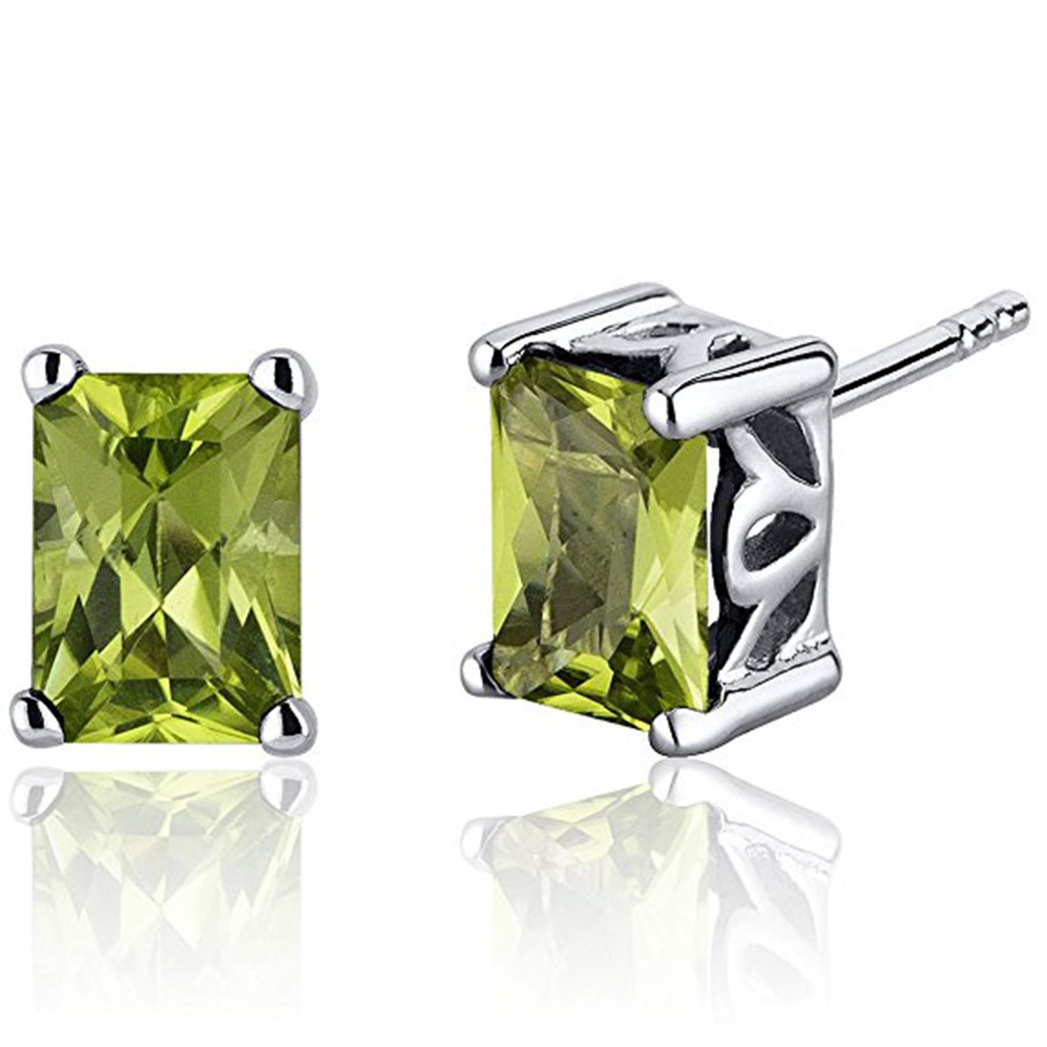 Simulated Peridot Studded 14K White Gold Plated Screwback Square Frame Solitaire Stud Earrings For Women Girls Jewelry
