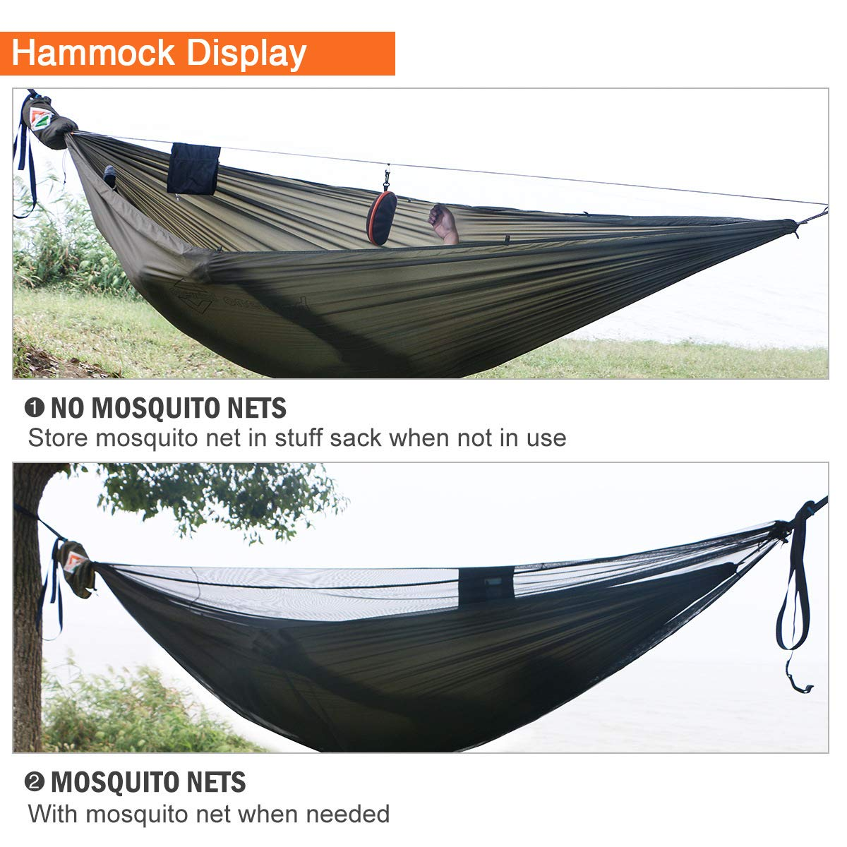 onewind Camping Hammock with Mosquito Net Tree Straps Adjustable Ridgeline Double 2 Person Portable Hammock XL Lightweight Nylon