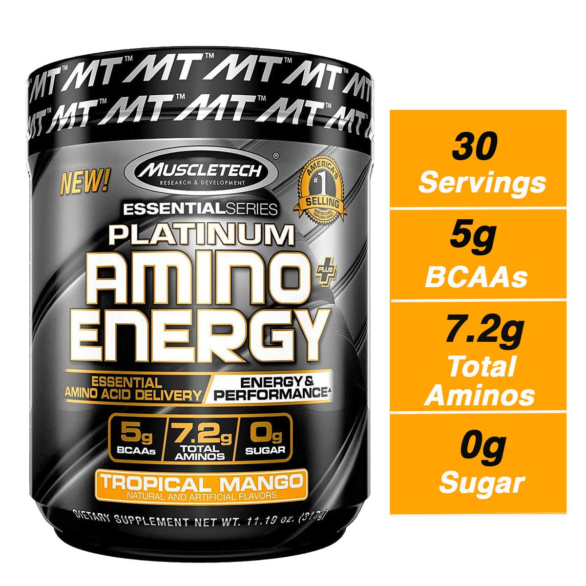MuscleTech Essential Series Platinum Amino Plus Energy BCAA Powder, Tropical Mango, 11.19 Ounce, 30 Serving by MuscleTech