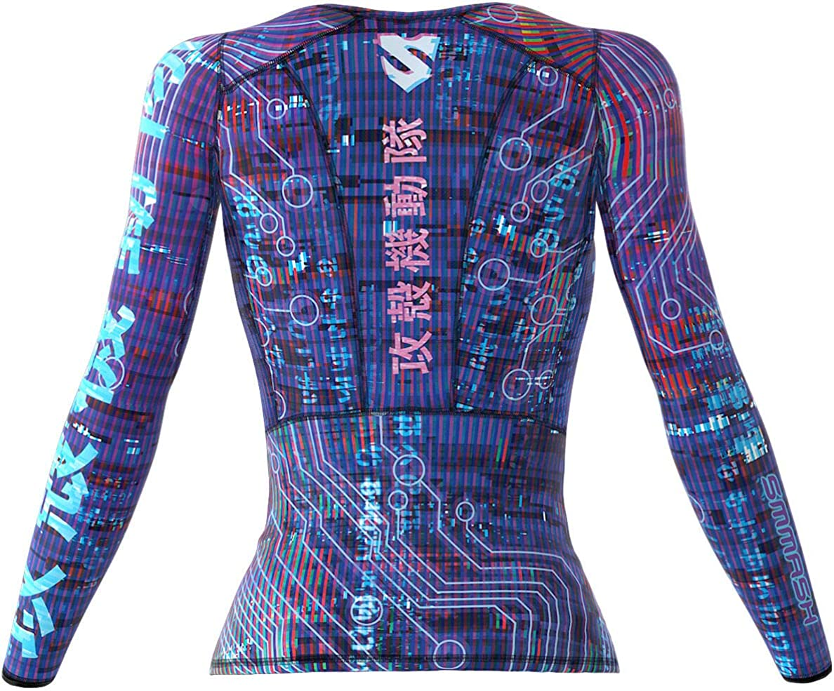 Atmungsaktiv und Leicht Compression Shirt Longsleeve Damen Gym Top Fitness SMMASH Ghost Damen Langarm Top Yoga Hergestellt in der EU Funktionsshirt f/ür Crossfit Sport Langarmshirt