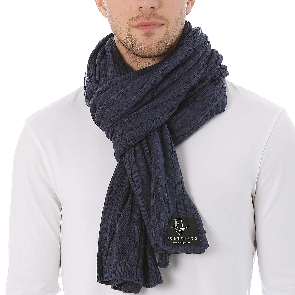 FORBUSITE Men Cable Knit Scarf for Winter Extra Long Blue E5041-51-NY