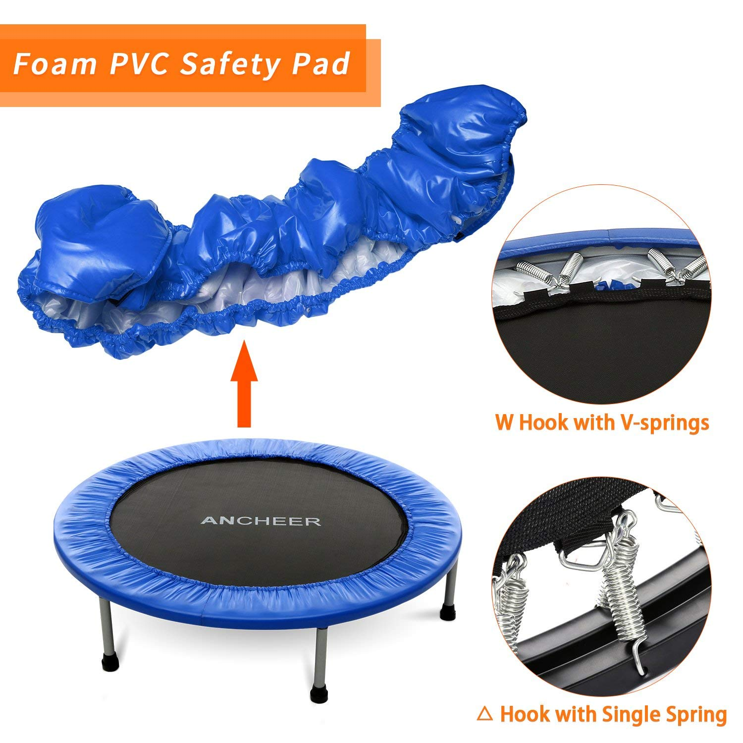 ANCHEER Max Load 220lbs Rebounder Trampoline with Safety Pad for Indoor Garden Workout Cardio Training (2 Sizes: 38 inch/40 inch, Two Modes: Folding/Not Folding) (Renewed) by ANCHEER (Image #2)