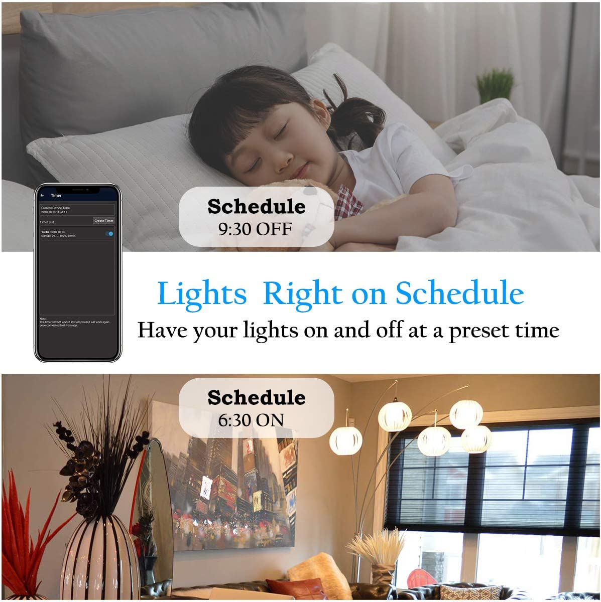 Echo A19 40W Equivalent by 4.5W WiFi Smart Dimmable LED Bulbs Google Home and IFTTT Compatible with Alexa AMAZING POWER Music Sync RGB Color Changing Light Bulb