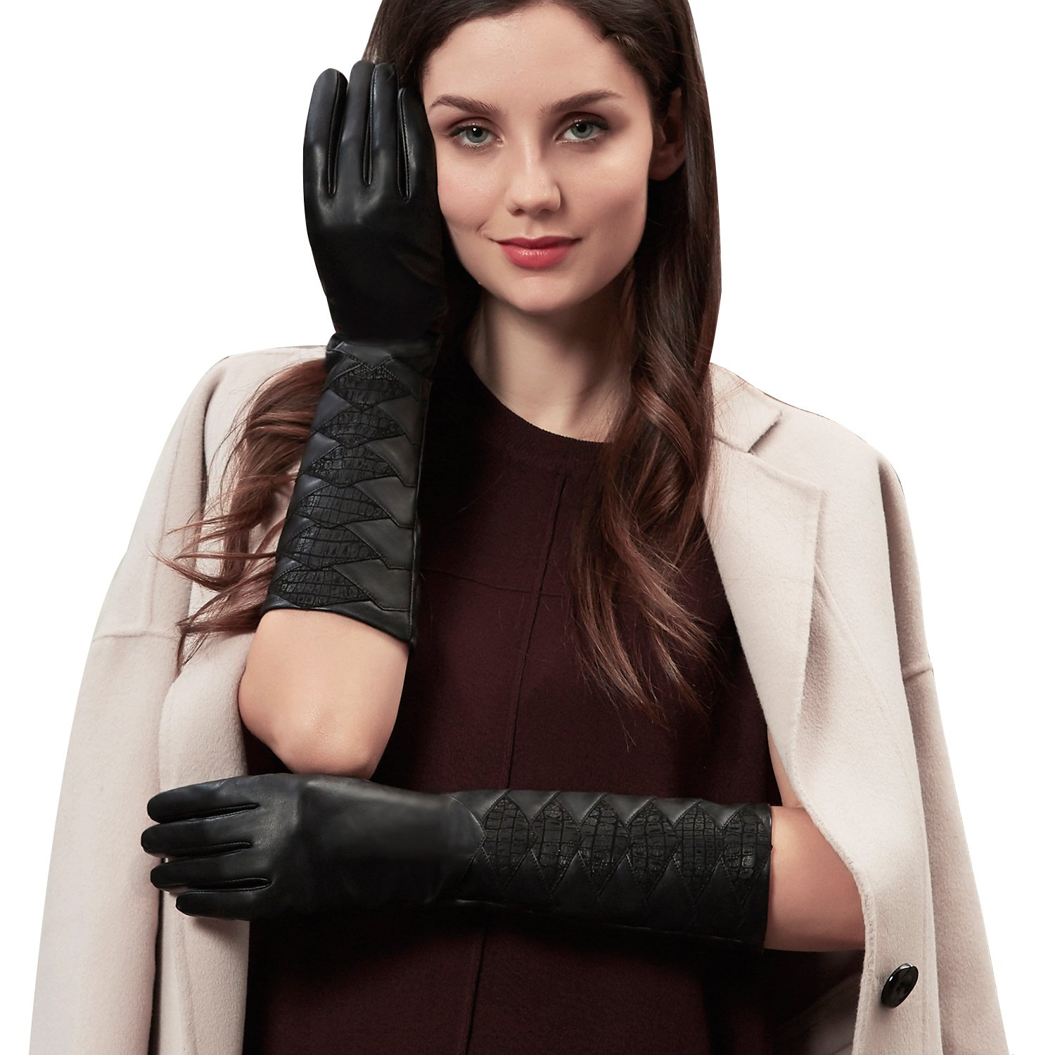 GSG Womens Diamond Patterned Touchscreen Elbow Gloves Genuine Leather Long Evening Gloves Winter Dress Accessory Snake 8