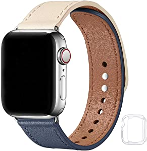 Soft Leather Bands Compatible with Apple Watch Band 38mm 40mm 42mm 44mm, Special Watch Band Replacement Strap for Women Men for iWatch SE Series 6 5 4 3 2 1(Ivory&Indigo with Silver, 38MM/40MM)