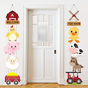 Farm Animal Themed Party Decorations, Farm Animal Cutouts Banner, Farm Animals Theme Party Door Signs for Baby Shower Family Reunion Theme Party Supplies