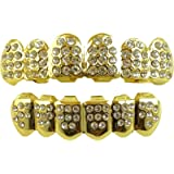 24K Gold Plated Grillz Tooth for Mouth Top Bottom Hip Hop Teeth Grills for Teeth Mouth + 2 Extra Molding Bars…