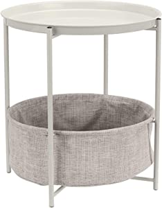 AmazonBasics Round Storage End Table - White with Heather Grey Fabric