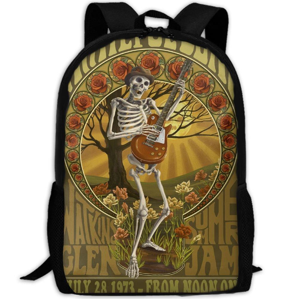 Mens Unique Daypack Backpack For Gym School Grateful Dead Band