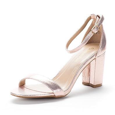 Dream Pairs Womens Chunk Champagne Low Heel Pump Sandals