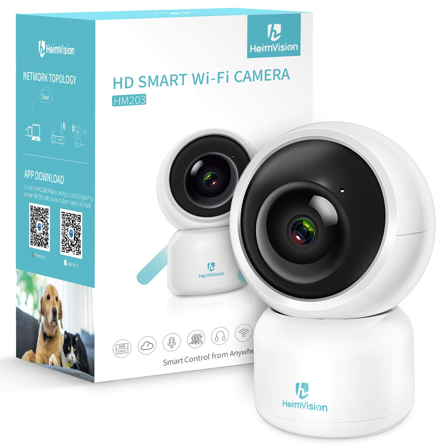 heimvision HM203 1080P Security Camera with Smart Night Vision Ptz Two-Way Audio, 2.4GHz Wireless Home Surveillance IP Camera for Baby Elder Pet Nanny Monitor, Cloud Service Microsd Support