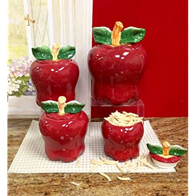 Buy Set Of 4 Apple Shaped Red Ceramic Canisters Country Kitchen Home Decor New Online In Germany B000p5zm5s