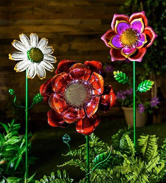 10.25 Dia Secret Solar Metal Flower Garden Stake x 4.75 D x 34.75 H Pink