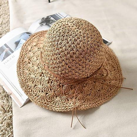 hhGold Sombrero de visera Sombreros para el sol Sombrero de paja Mujer  Verano Pequeño Fresco Plegable Sombreros de playa Sombreros de mar Sombrero  de paja ... 0300af483e0