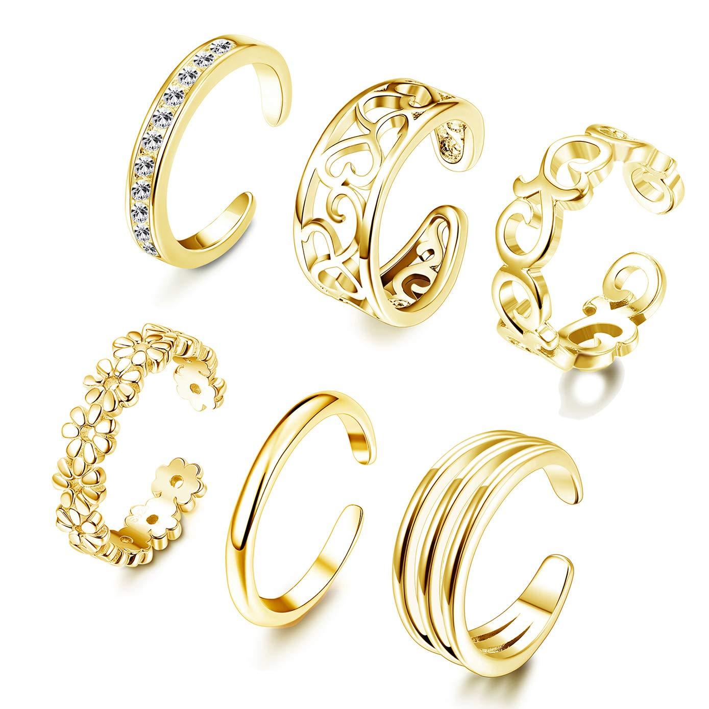 FUNRUN JEWELRY 6PCS Adjustable Toe Ring for Women Girls Open Tail Ring Band Hawaiian Foot Jewelry Gold Tone by FUNRUN JEWELRY