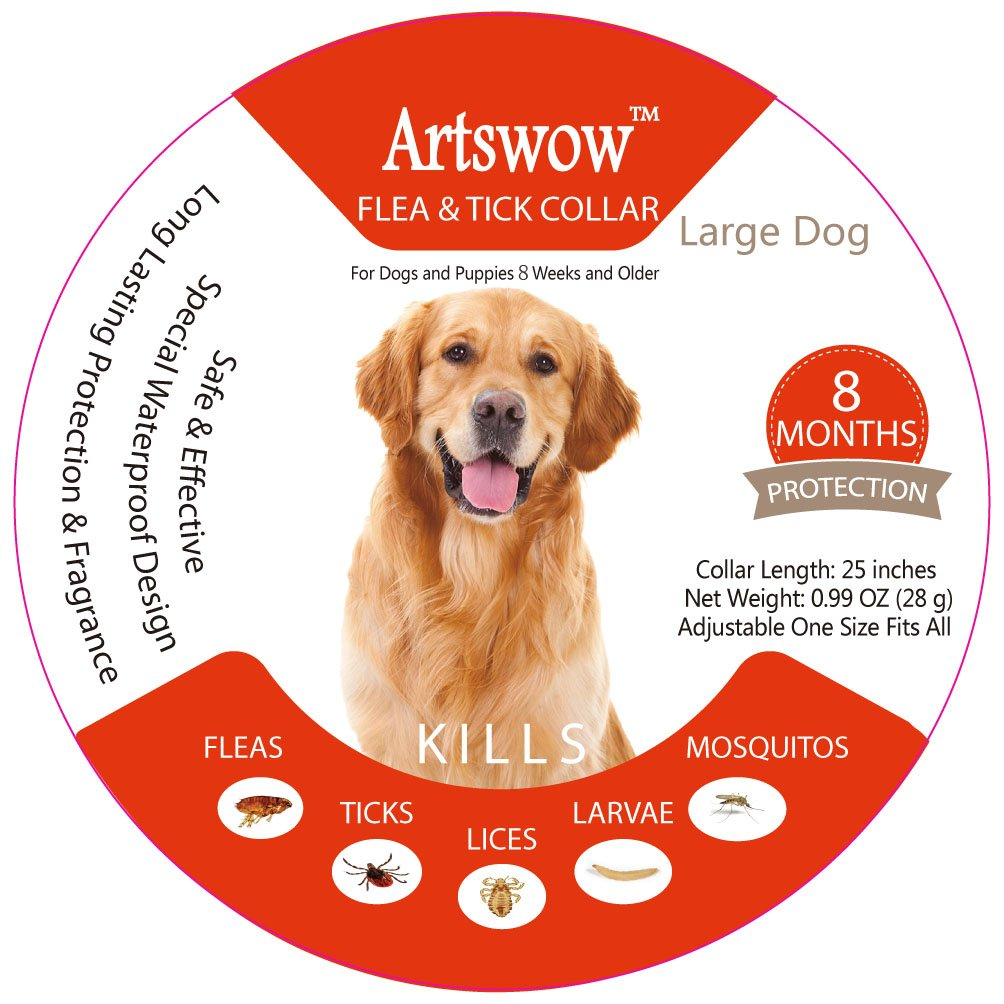 Artswow Flea and Tick Prevention for Dog Collar - Waterproof and Hypoallergenic Flea Treatment Tick Collar for Large Dogs - 25'' Adjustable Collar 8Month Protection