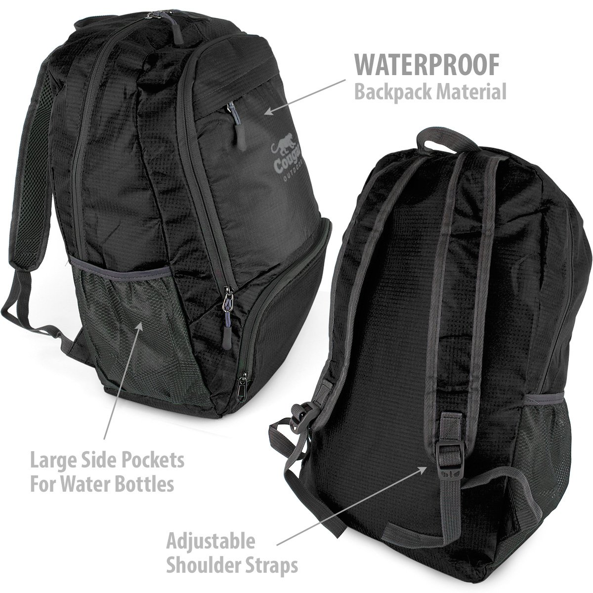 da6e846536ae Amazon.com   Cougar OUTDOOR Lightweight Packable Backpack from ...