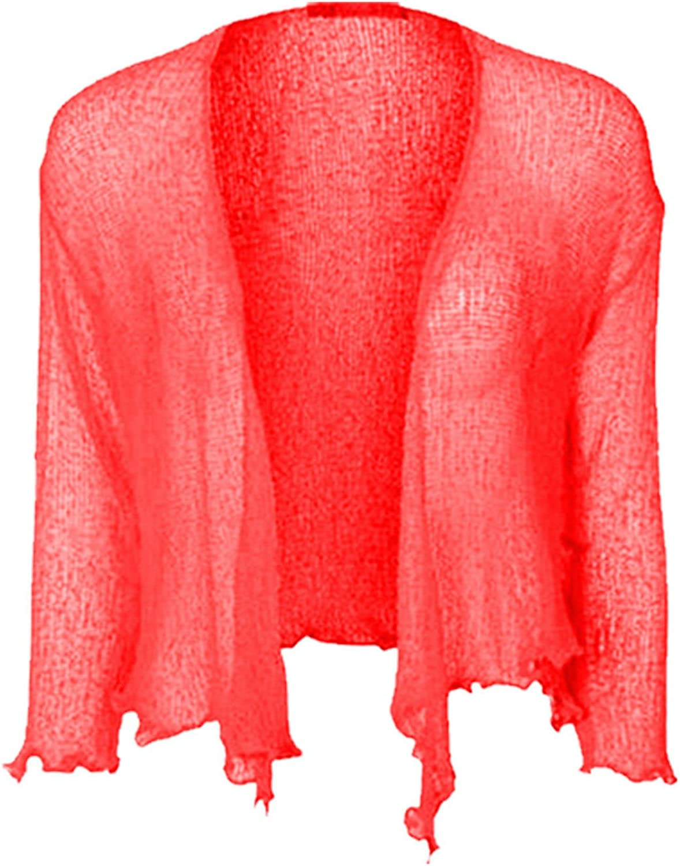 Women Ladies Girls Cropped Bolero UK Standard One Free Plus Size Stretchy Tie Up 3//4 Sleeve Front Fine Knit Shrug Top