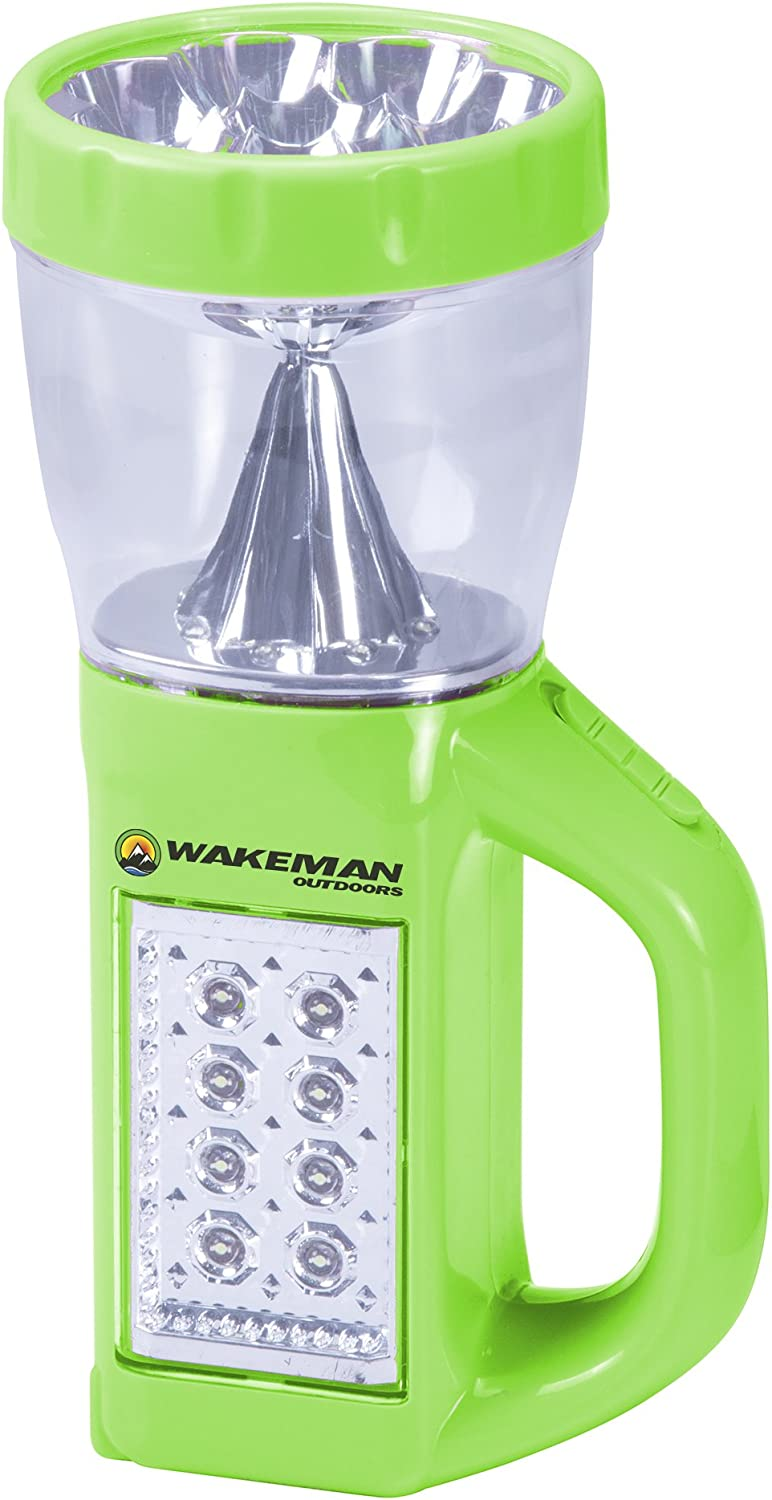 Wakeman 3 in 1 LED Lantern, Flashlight and Panel Light, Lightweight Camping Lantern Outdoors (for Camping Hiking Reading and Emergency) (Green), 75-CL1007, Neon Green