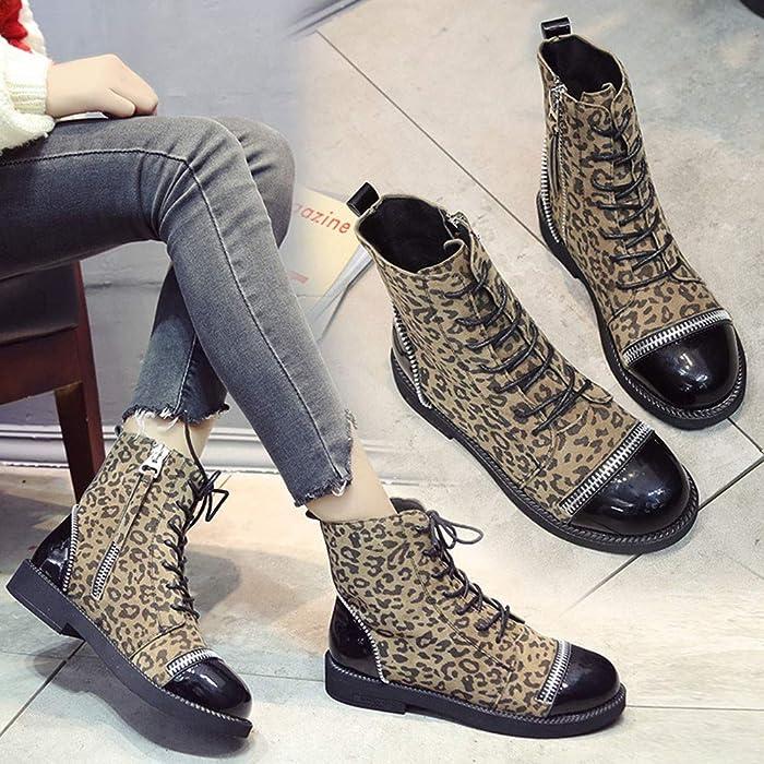 Mymyguoe Zapatos Invierno Mujer Planas Botines Cortos con Cordones Black Friday Botas de Leopardo Estilo BritáNico Tacon bajo Fondo Plano Botas Moto ...