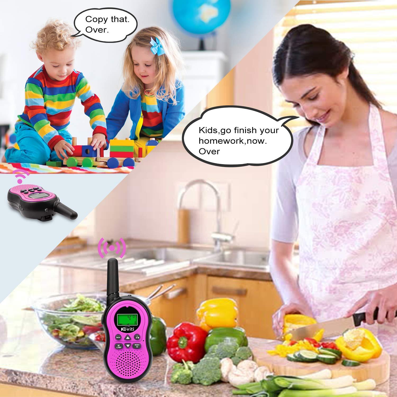 Koviti Kids Walkie Talkies 2 Way Radio 22 Channel Range Up to 3Miles UHF Walky Talkies Interphone Toy Gift for Kids (Pink,2 Pack) by Koviti (Image #3)